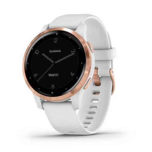 Garmin vivoactive 4S GPS Smartwatch (Rose Gold with White Band)