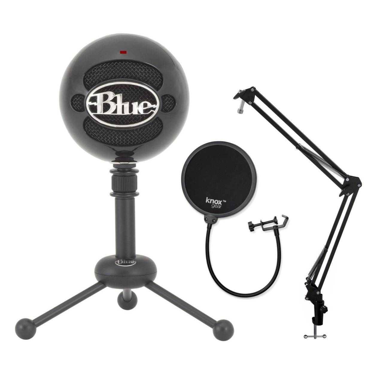 Blue Microphones Snowball USB Microphone (Gloss Black) with Pop Filter for Microphone and Suspension Boom Scissor Arm