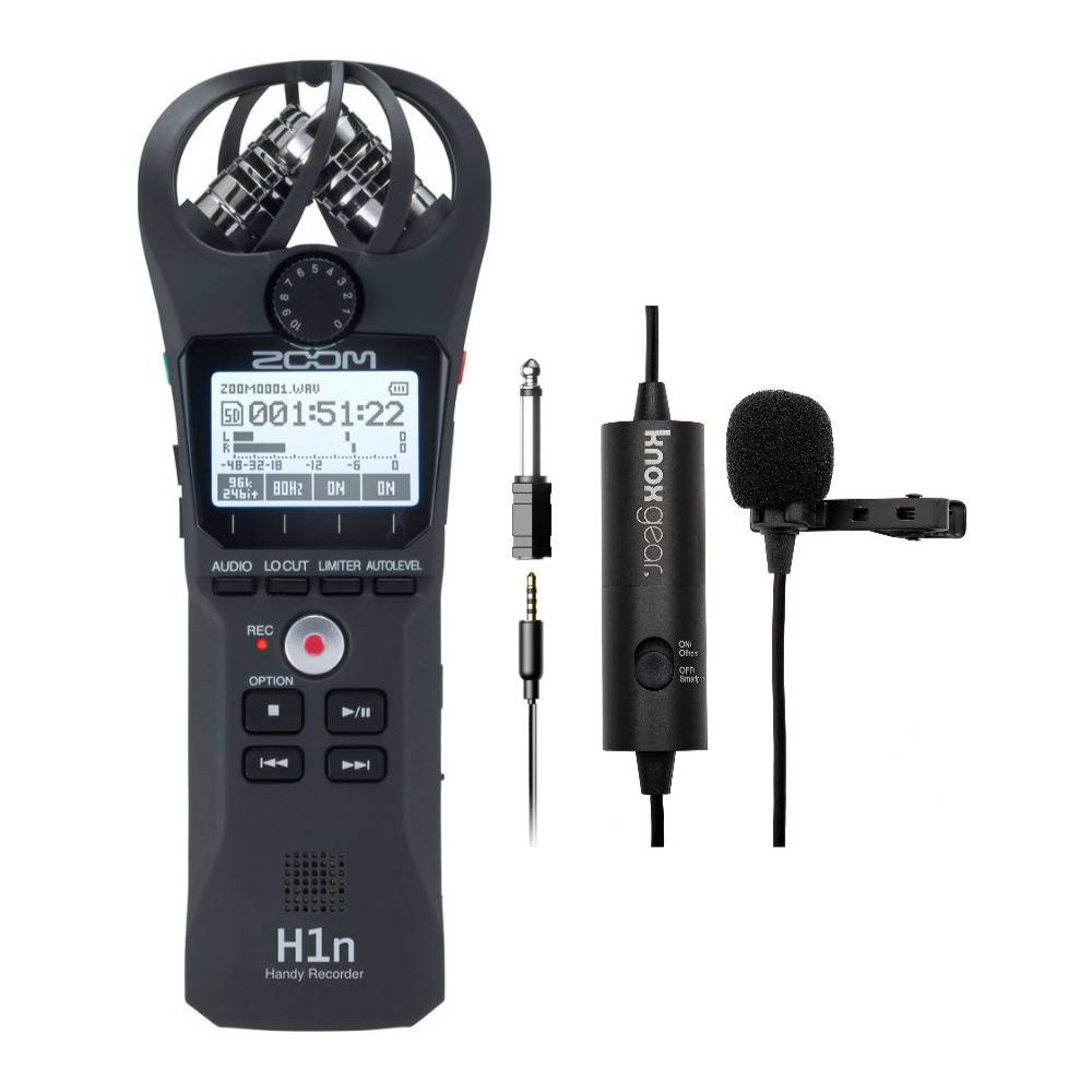 Knox Gear Zoom H1n Digital Handy Recorder with Knox Gear Clip-On Lavalier Microphone