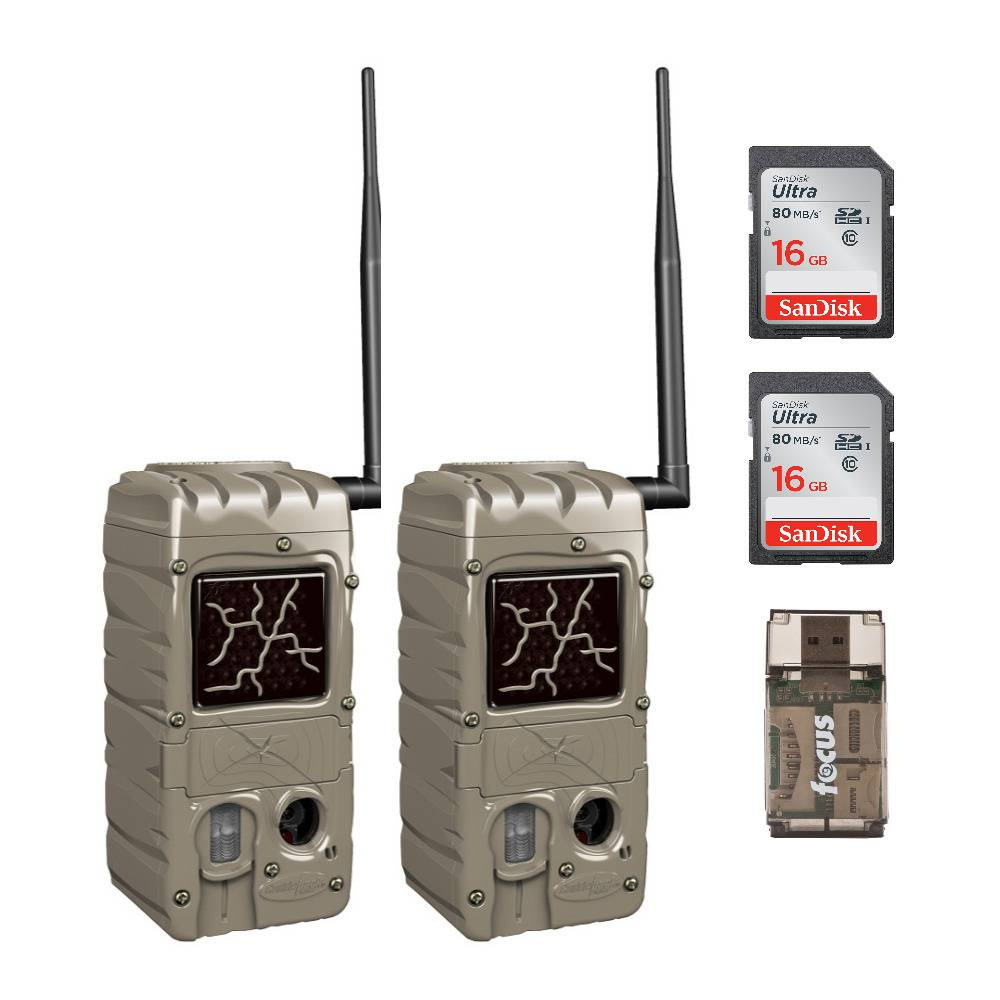 Cuddeback CuddeLink G Series Dual Flash 20MP Trail Camera (2-Pack) with Two 16GB SD Cards and USB 2.0 Card Reader