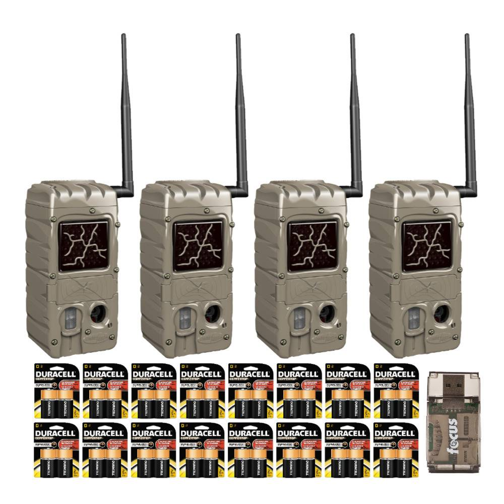 Cuddeback CuddeLink G Series Dual Flash 20MP Trail Camera (4-Pack) with Batteries and USB 2.0 Card Reader