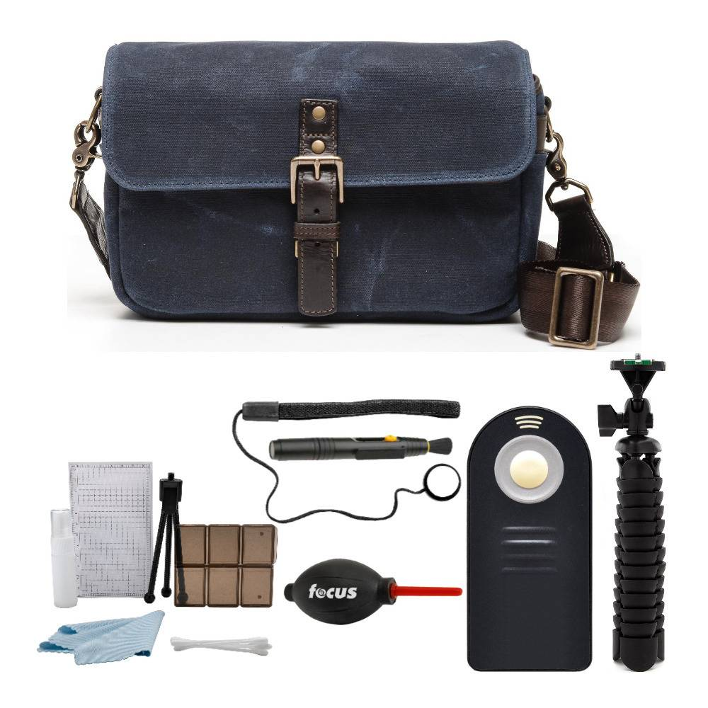 ONA Leather Brixton Waxed Canvas DSLR Camera/Laptop Messenger Bag (Oxford Navy Blue) with Accessory Bundle