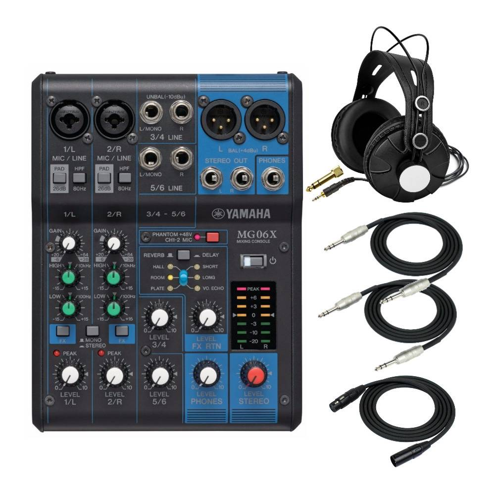 Yamaha MG06X 6-Input Compact Stereo Mixer with FX Bundle Including Closed-Back Headphones and Cables