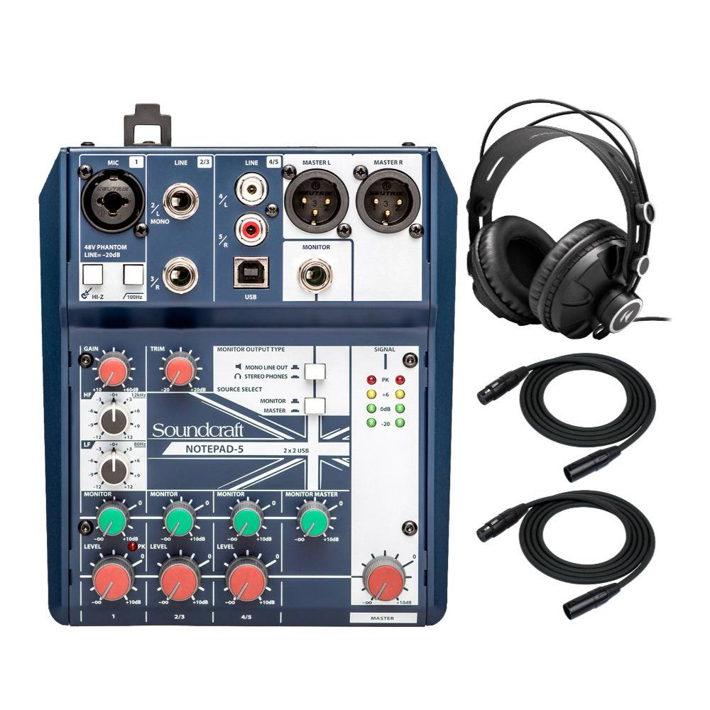 Soundcraft Notepad-5 Small-Format Analog Five-Channel Mixing Console with USB I/O with Headphones and XLR Cables Bundle