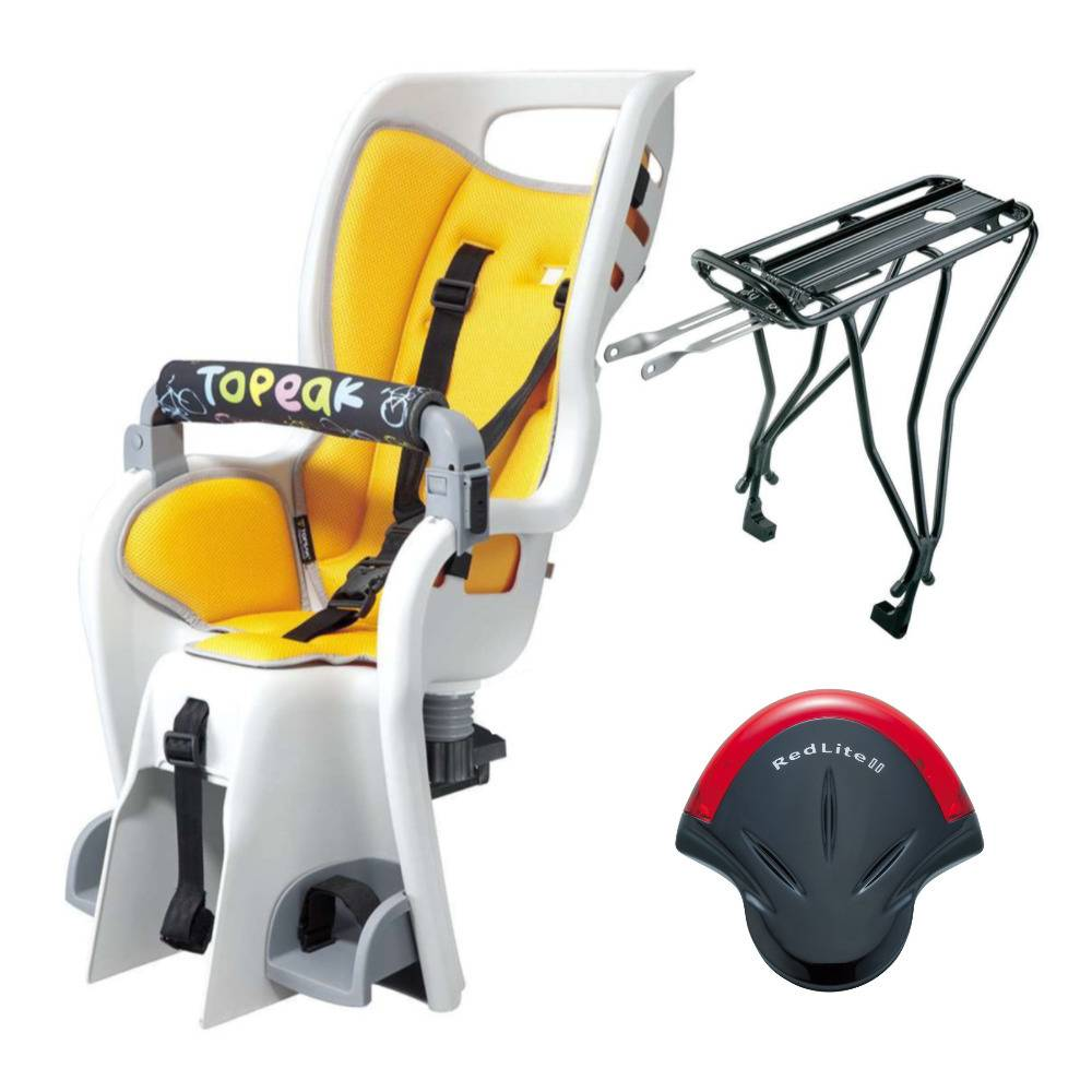 Topeak BabySeat II with Disc Mount Bike Rack for 26-Inch Wheel (Yellow Seat Pad) with Bike Rear Safety Light