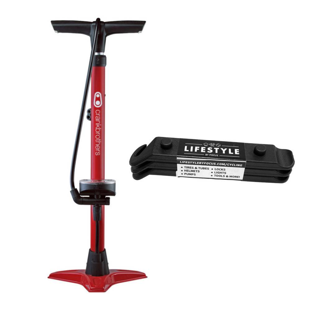 Crank Brothers Crankbrothers Gem High Pressure/Volume Floor Bike Pump (Red) and Tire Levers Bundle