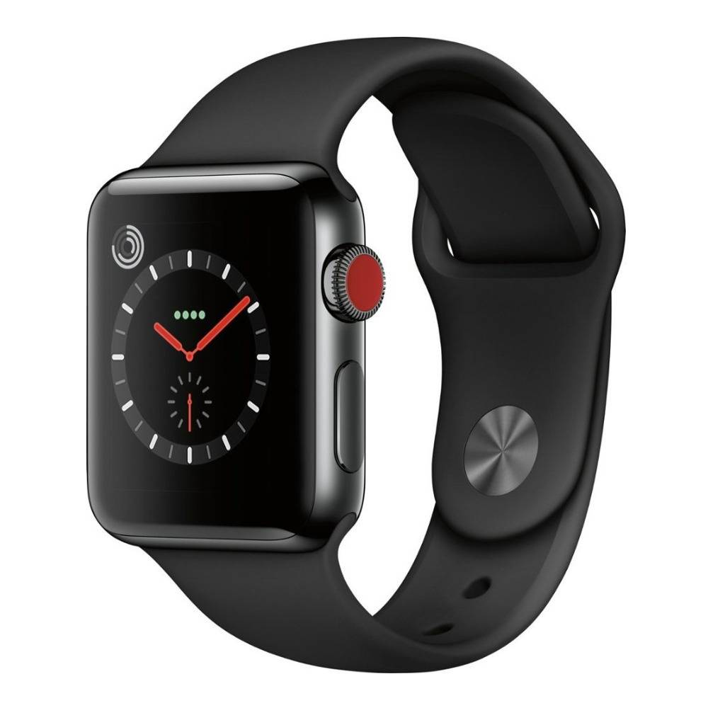 Apple Watch Series 3 38mm GPS Smartwatch with Cellular Support (Space Black Stainless Steel Case with Black Sport Band)