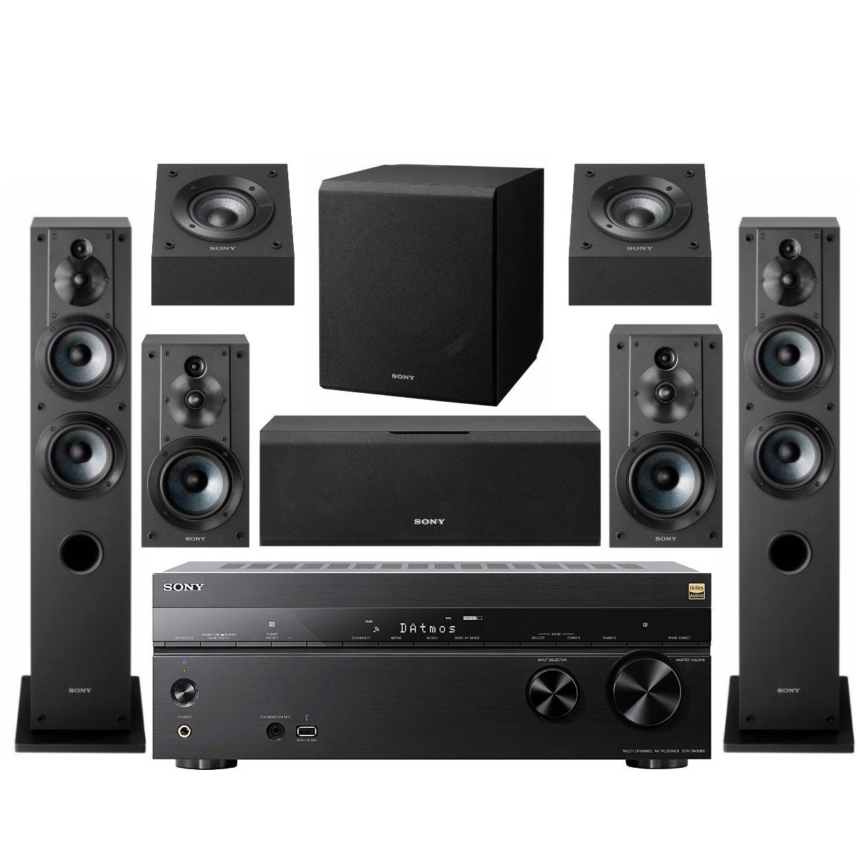 Sony STR-DN1080 7.2-Channel Home Theater AV Receiver with Active Subwoofer and Speakers Bundle