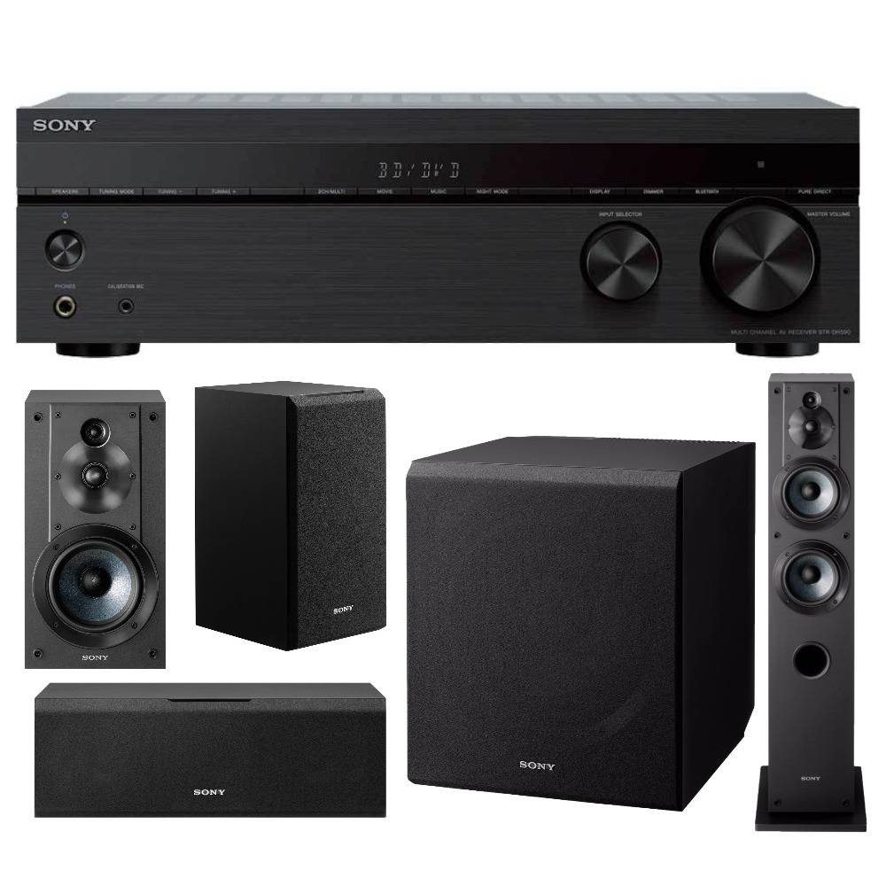 Sony STRDH590 5.2ch Home Theater AV Receiver with Speaker and Subwoofer Bundle