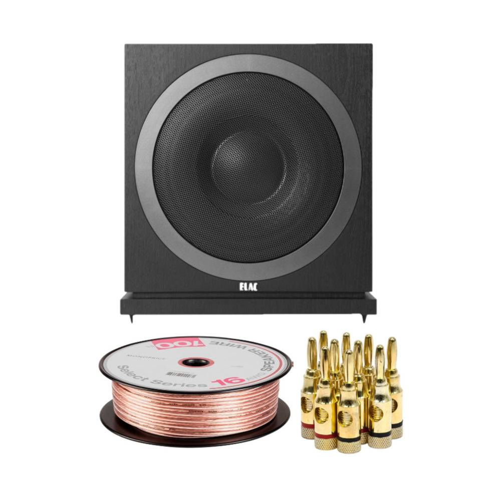 ELAC Debut 2.0 SUB3010 10-inch 400W Powered Subwoofer with Banana Plugs and Speaker Wire Bundle