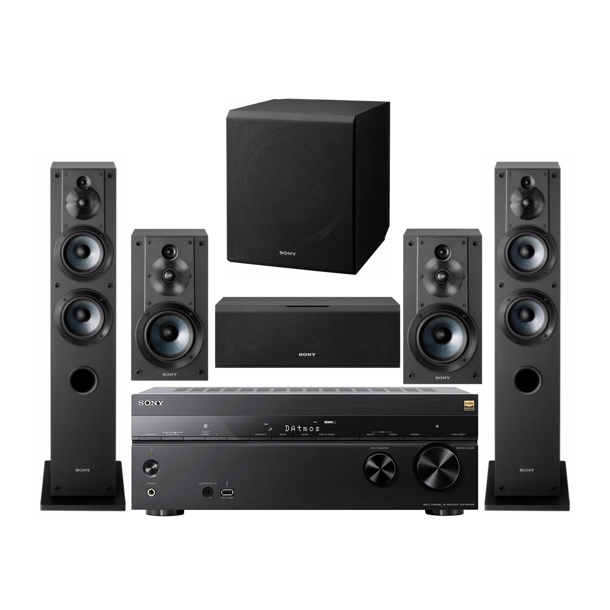 Sony 7.2 Channel 3D 4K A/V Surround Sound Multimedia Home Theater System (STRDN1080, SSCS3 (2), SSCS5, SSCS8, SACS9)