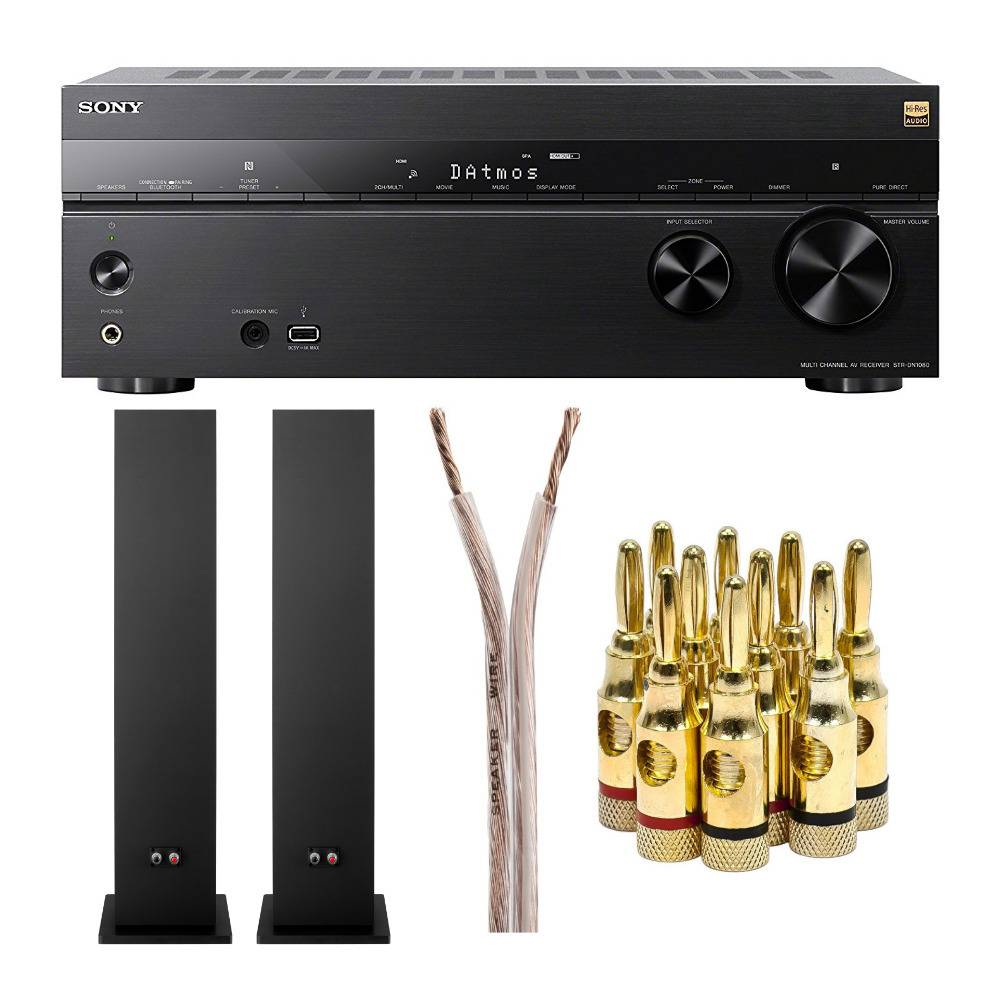 Sony STR-DN1080 7.2-Channel Dolby Atmos Surround Sound Wi-Fi Network AV Home Theater Receiver Bundle