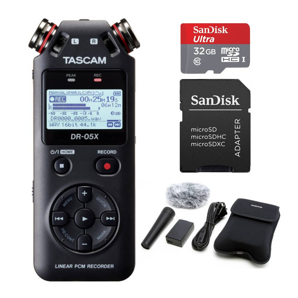 Tascam DR-05X Stereo Handheld USB Audio Interface with 32GB Memory Card and Recording Accessory Bundle