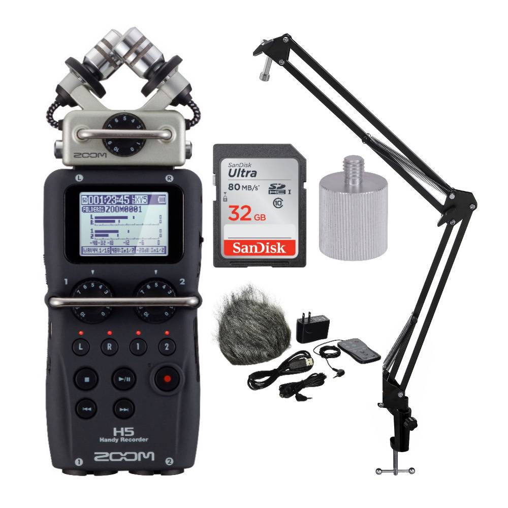 Zoom H5 Handy Recorder with Accessory Pack, Knox Suspension Arm and Memory Card