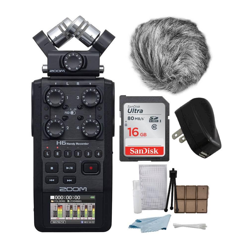 Zoom H6 6-Track Handy Recorder (Black, 2020 Model) Bundle with 16GB Card, Windscreen, Power Adapter, and Accessory Kit