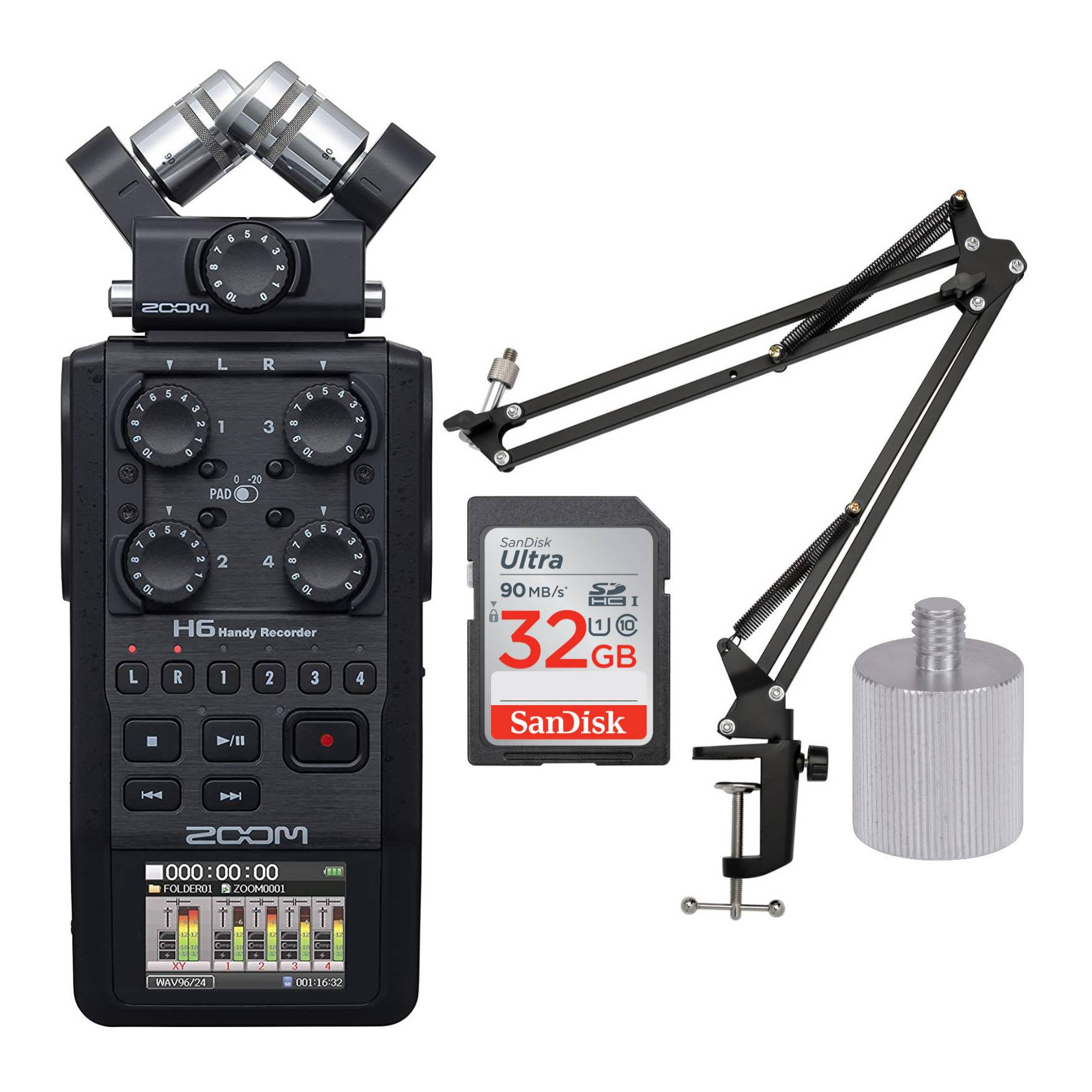 Zoom H6 6-Track Handy Recorder (Black, 2020 Model) with Knox Boom Arm and Memory Card Bundle