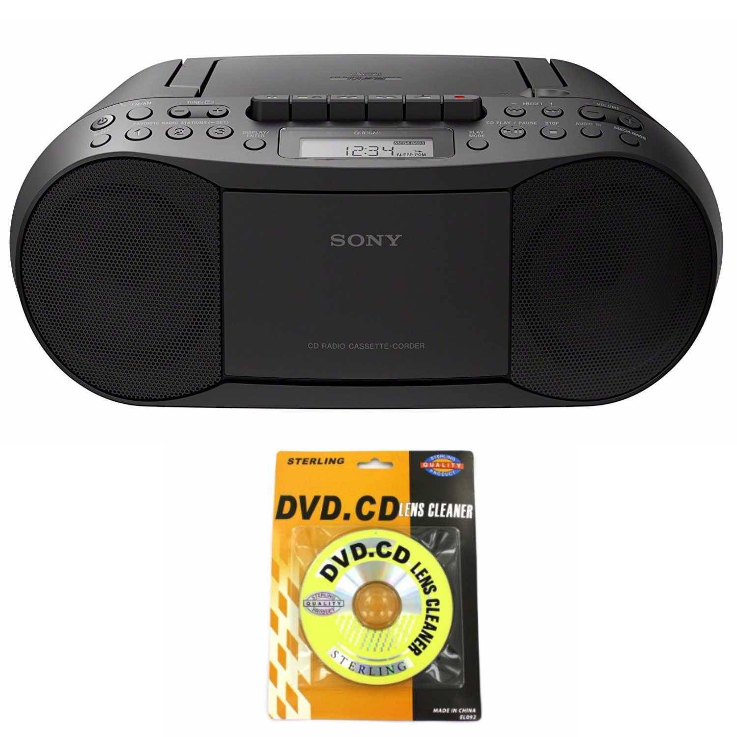 Sony Stereo CD/Cassette Boombox Home Audio Radio (Black) with Lens Cleaner