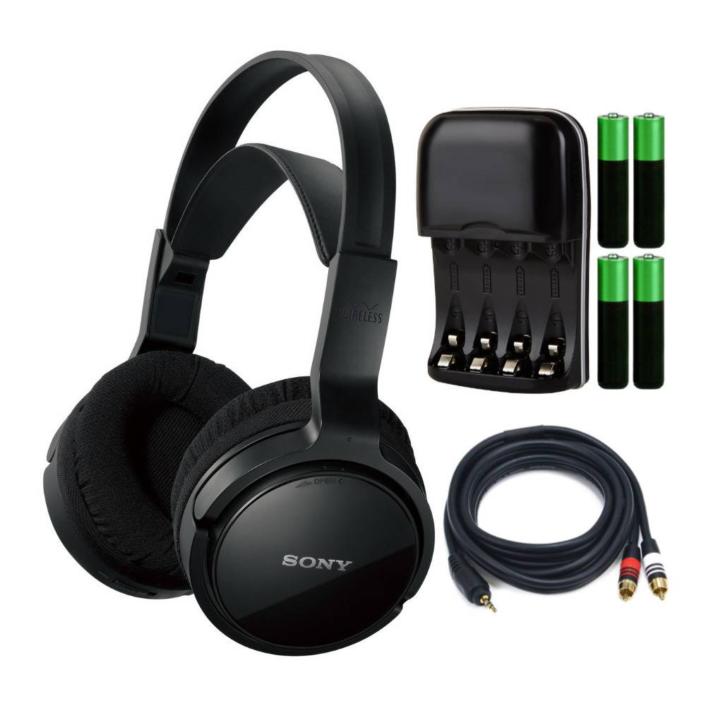 Sony MDRRF912RF Home Theater Headphones (Black) Bundle with Battery Charger and Cable