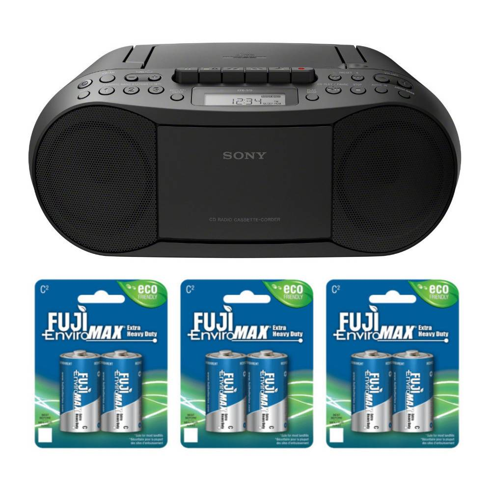 Sony Stereo CD/Cassette Boombox Home Audio Radio (Black) with Six Batteries