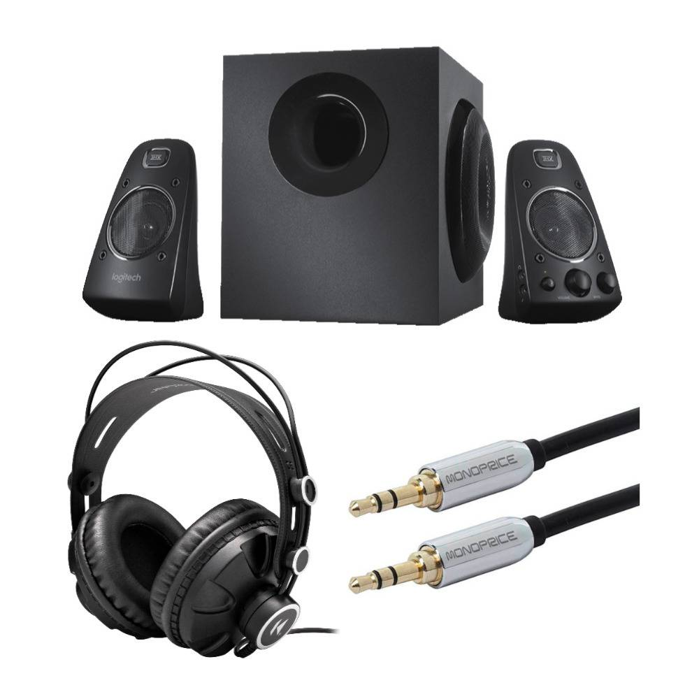 Logitech Z623 400 Watt Home Speaker System with Knox Gear Headphones and Audio Cable