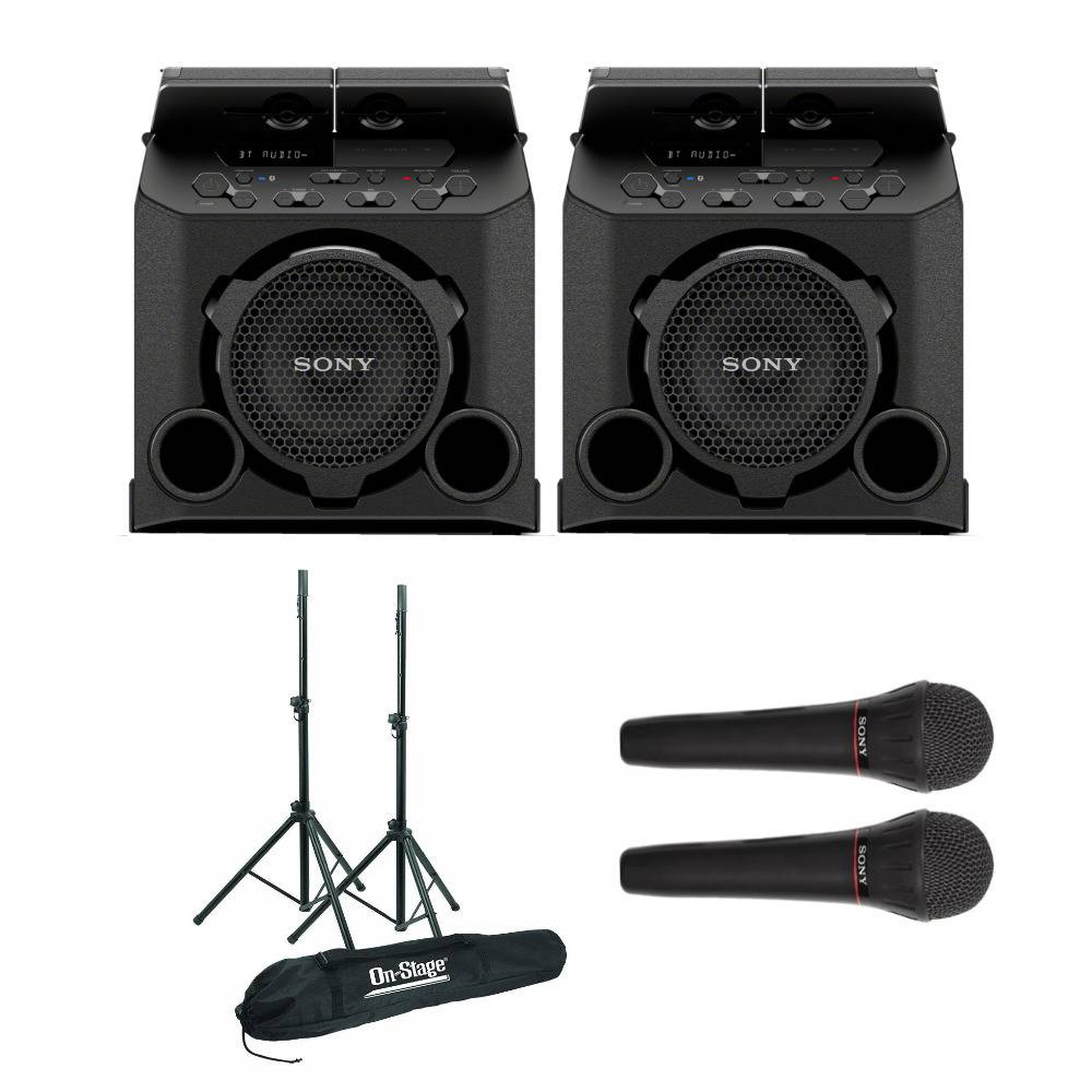 Sony PG10 Portable Bluetooth Outdoor Speaker (2-Pack) with Speaker Stands and Microphones