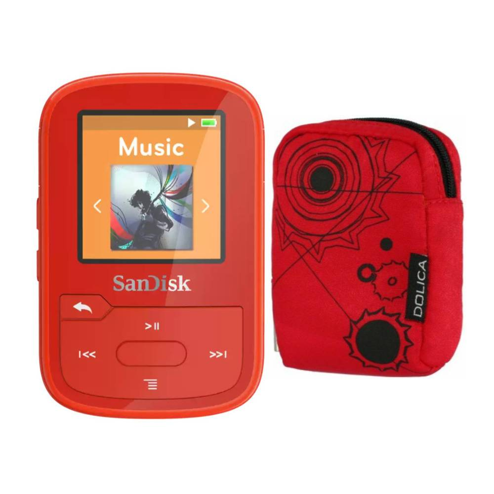 SanDisk 16GB Clip Sport Plus Wearable MP3 Player (Red) Bundle