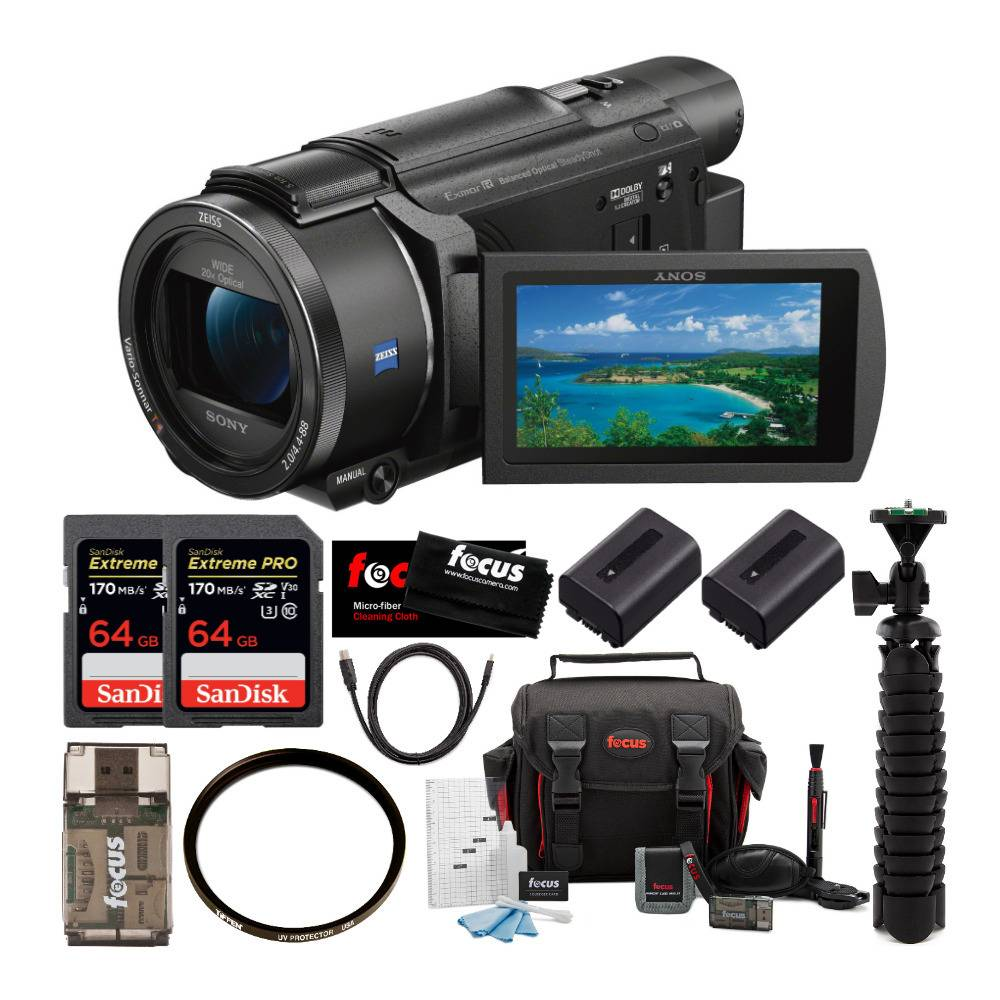 Sony FDR-AX53 UHD 4K Handycam Camcorder with 55mm UV Protector and 64GB Accessory Bundle