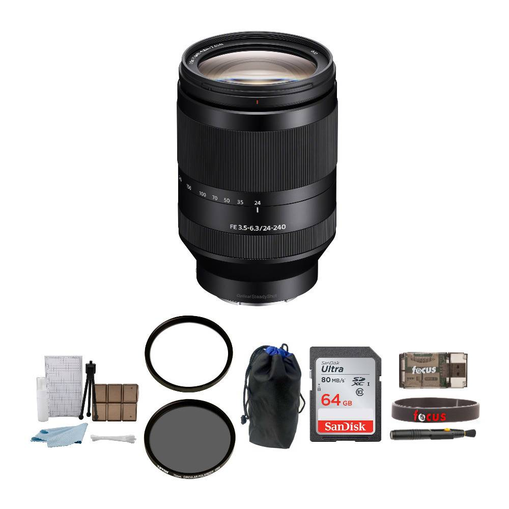 Sony FE 24-240mm f/3.5-6.3 OSS Telephoto Zoom Lens with64GB SD Card and Accessory Bundle