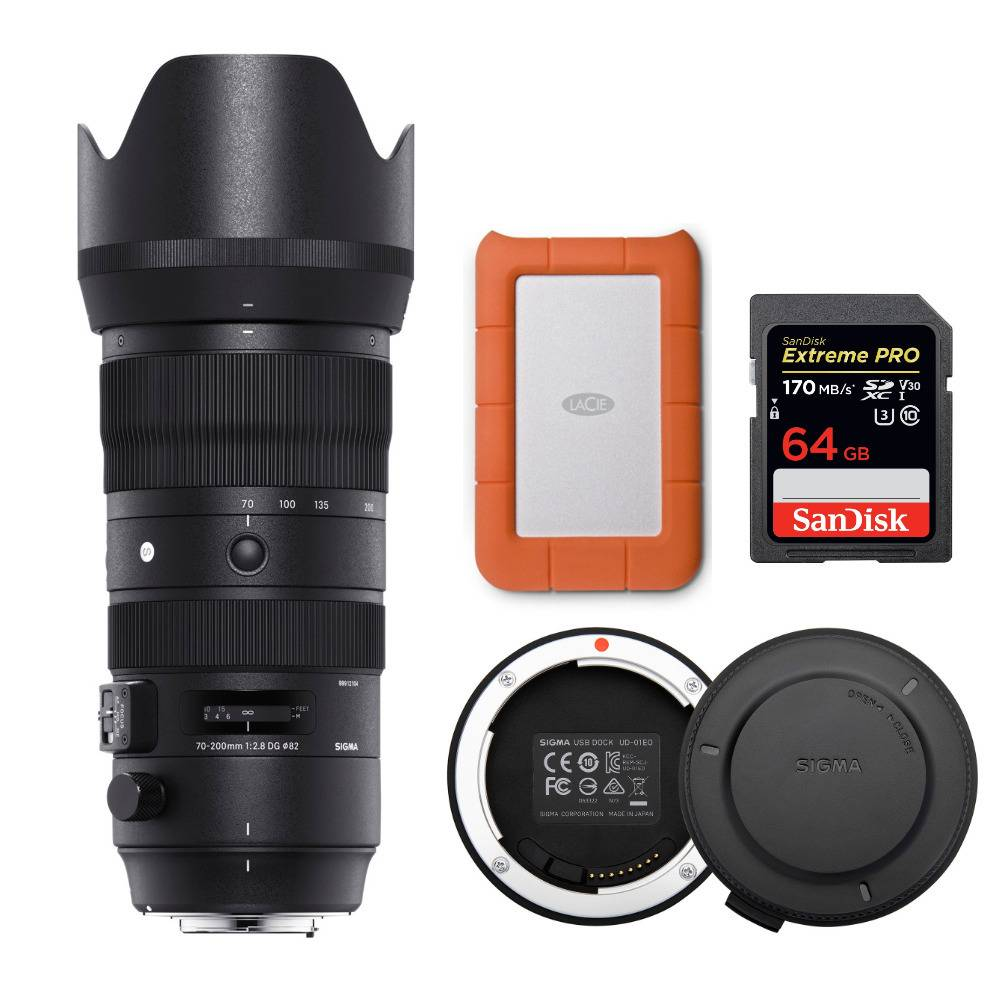 Sigma 70-200mm f/2.8 DG OS HSM Sport Lens for Nikon with 1TBHard Drive and Accessory Bundle