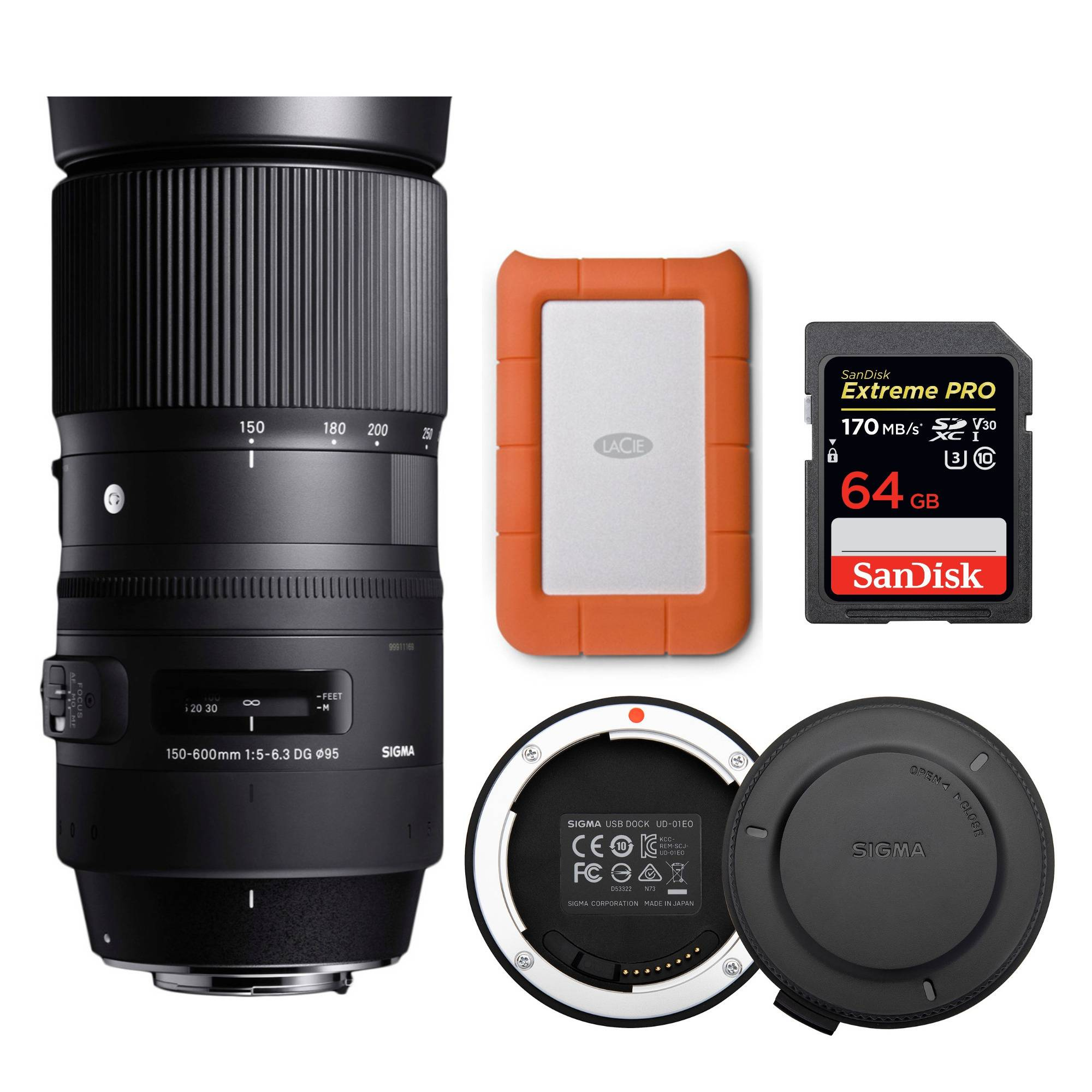 Sigma 150-600mm f/5-6.3 DG OS HSM Contemporary Lens for Nikon with Mini 1TBExternal Hard Drive and Accessory Bundle