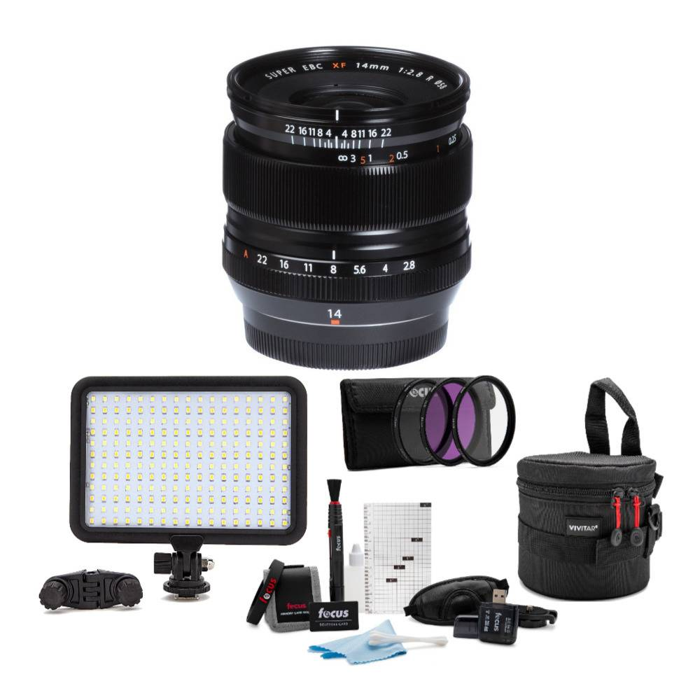 Fuji XF 14mm f/2.8 R Ultra Wide-Angle Lens with 1400-Lumen LED Video Light Accessory Bundle