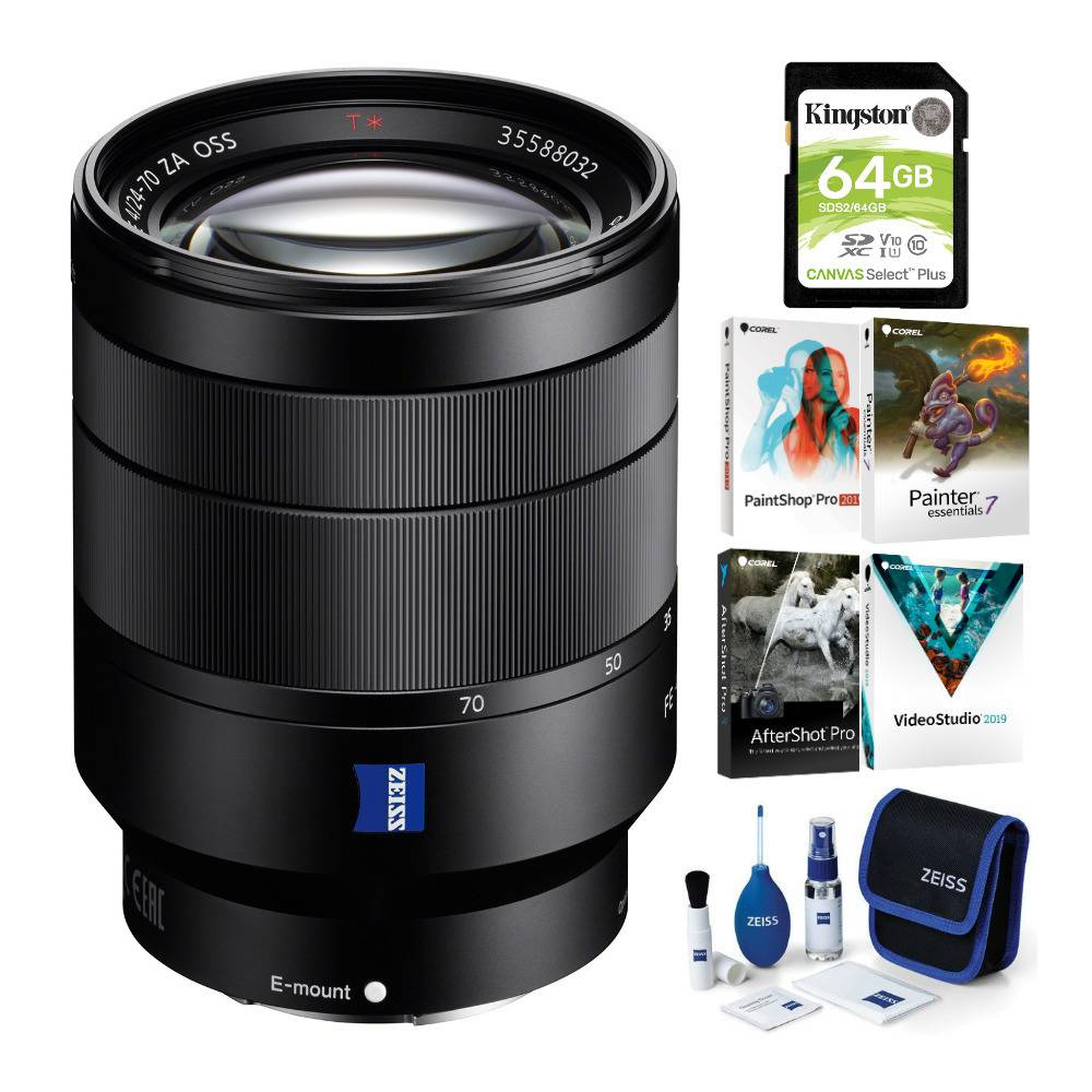 Sony Vario-Tessar T* FE 24-70mm F4 ZA OSS Camera Lens with Software Suite and Accessory Bundle