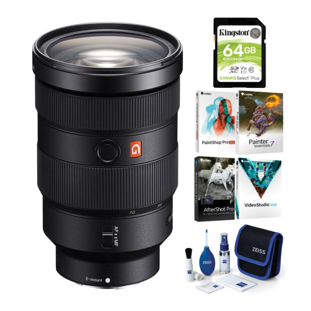 Sony FE 24-70mm f/2.8 GM Lens with Software Suite and Accessory Bundle