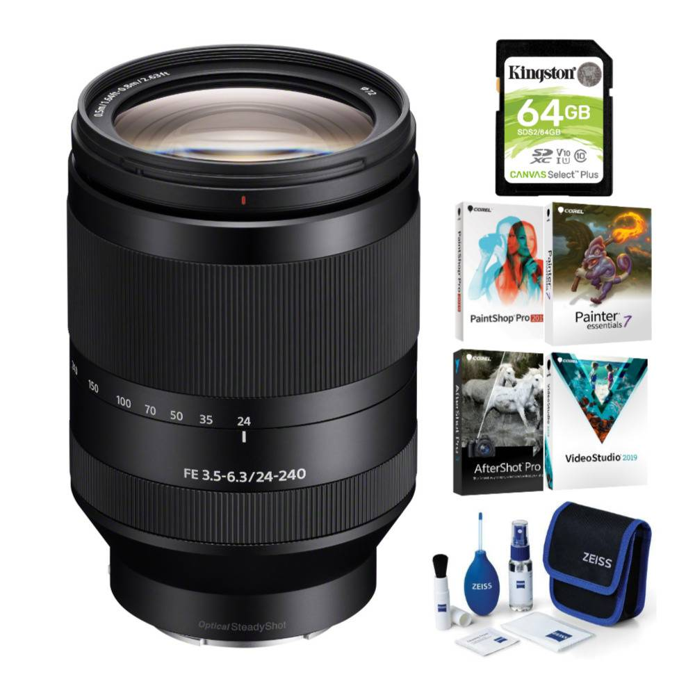 Sony FE 24-240mm f/3.5-6.3 OSS Full-Frame E-mount Telephoto Zoom Lens with Software Suite and Accessory Bundle