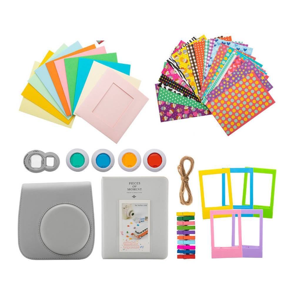 Focus Camera Mini 9 Camera Accessory Bundle with Groovy Case, Album, Frames, Stickers, Filters & Hanging Frame (Smokey)