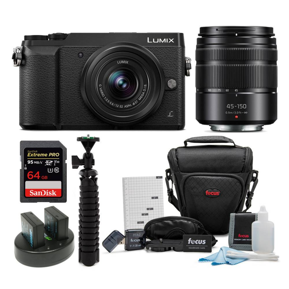 Panasonic DMC-GX85WK 4K Mirrorless Camera with 12-32mm and 45-150mm Lenses and Accessory Bundle