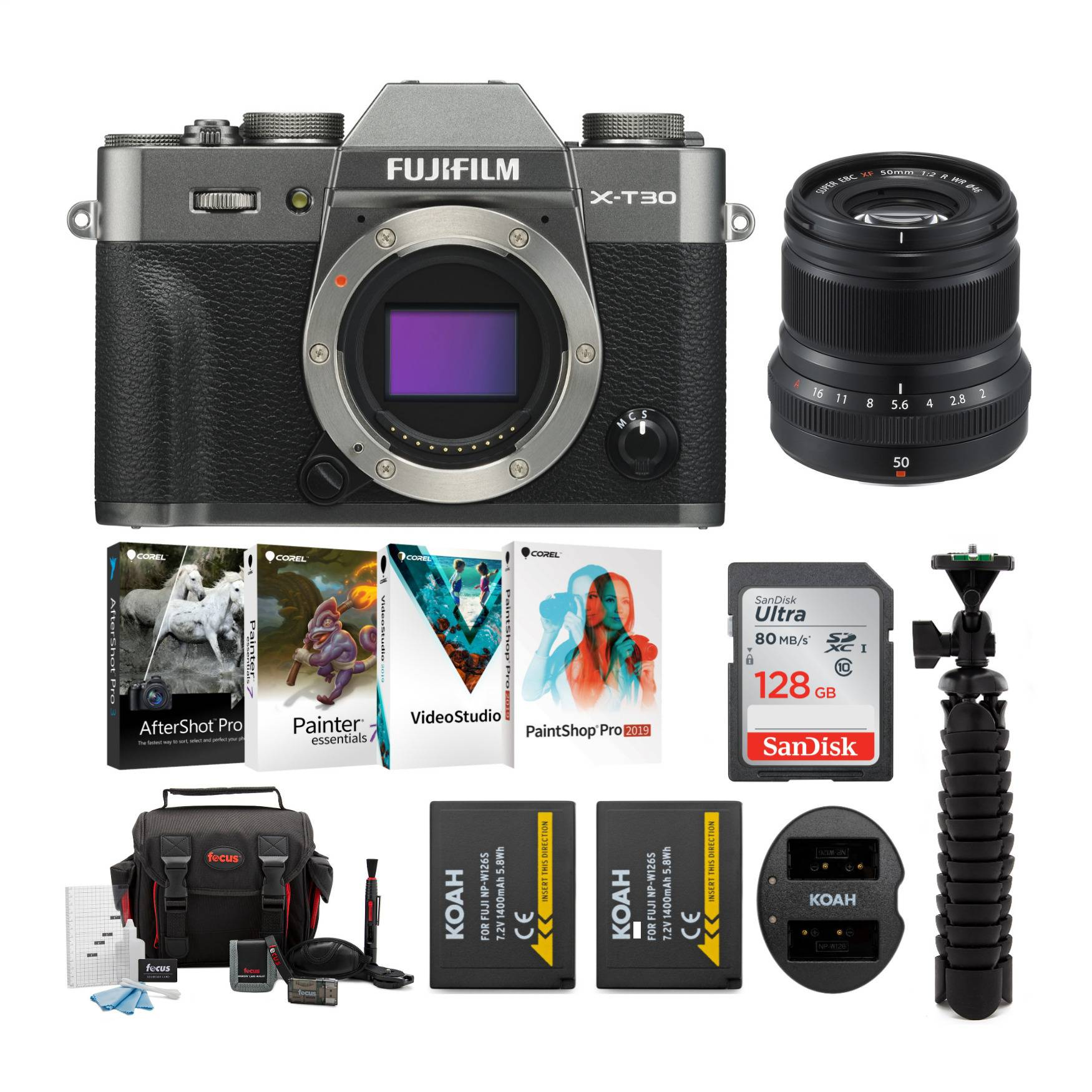 Fuji X-T30 Mirrorless Camera (Body, Charcoal Silver) with XF 50mm f/2 lens and Accessory Bundle