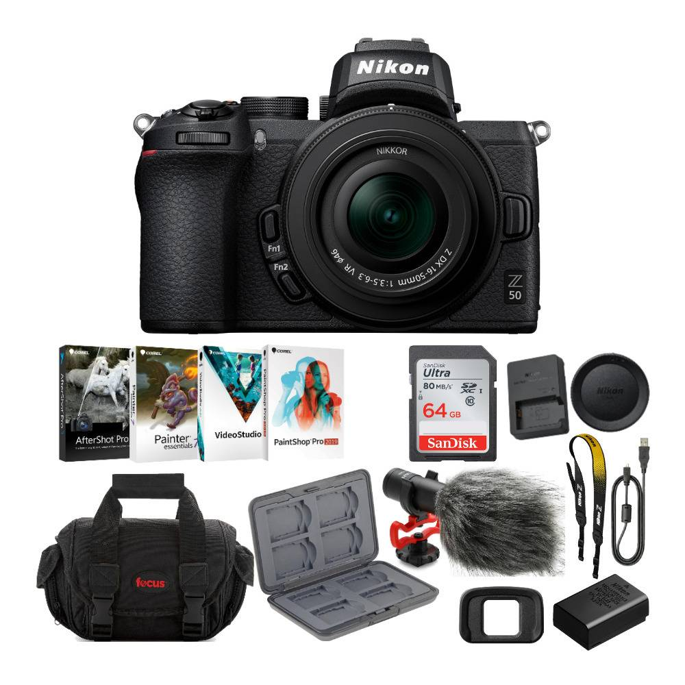 Nikon Z50 Mirrorless Camera with NIKKOR Z 16-50mm VR Lens, Microphone, 64GB Card, Software and Accessory Bundle