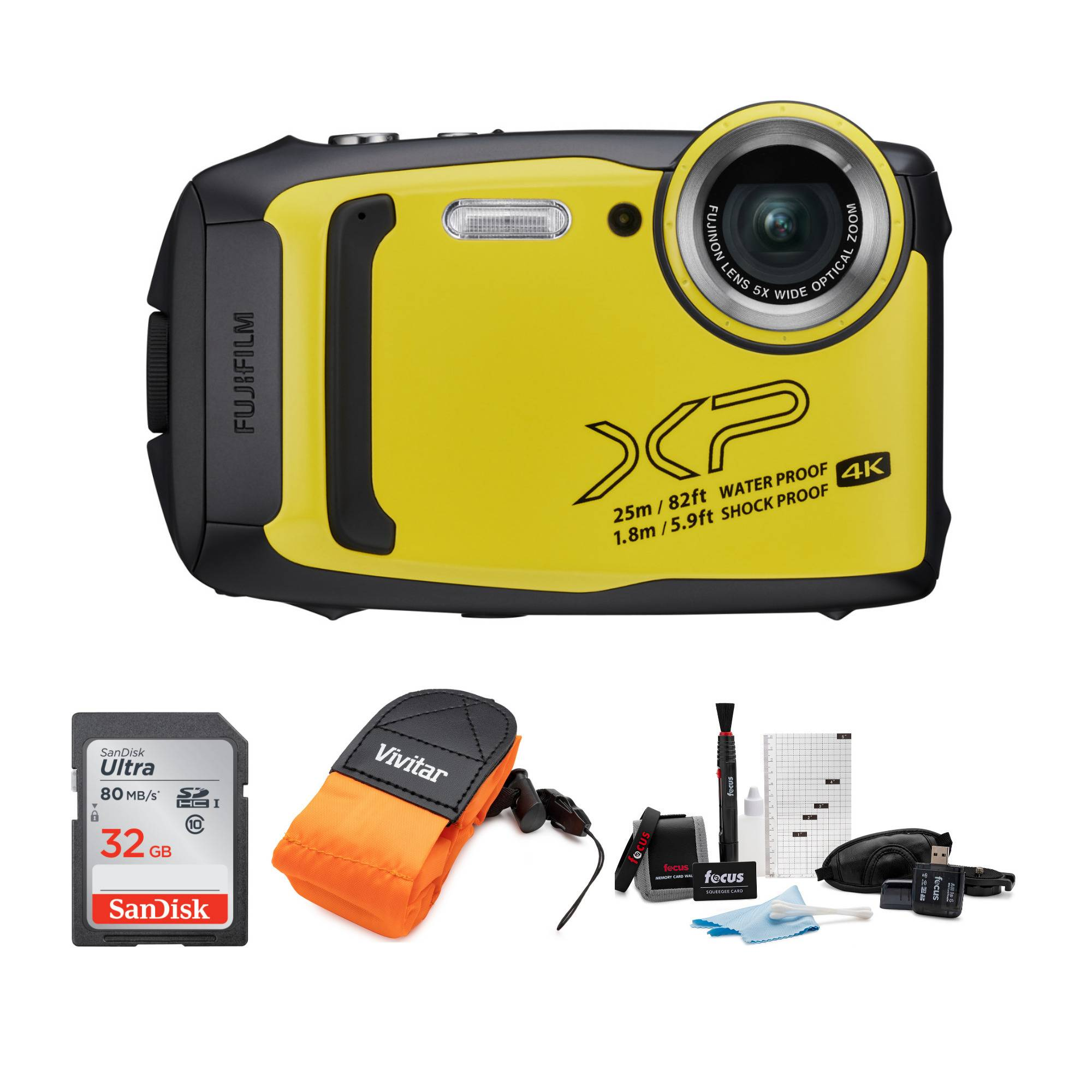 Focus Camera Fujifilm FinePix XP140 Digital Camera (Yellow) Refurbished with Strap Accessory Bundle