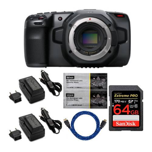 Blackmagic Design Pocket Cinema Camera 6K (Canon EF) with 64GB SD Card, Two LPE6 Battery Pack & Charger Accessory Bundle