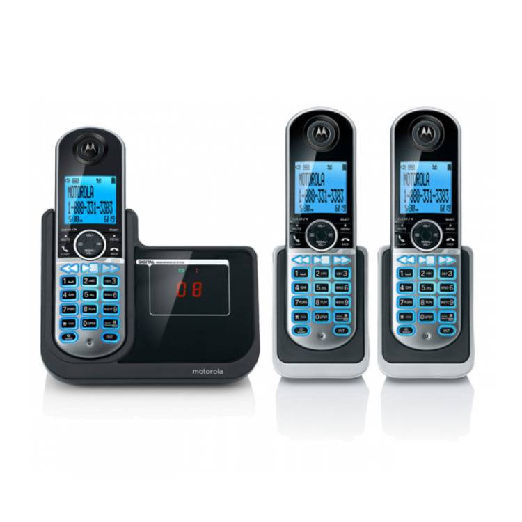 Motorola DECT 6 Digital Cordless Phone with Answering Machine and Three Handsets
