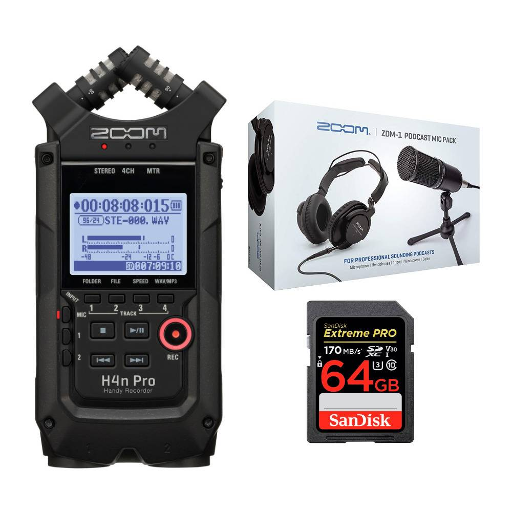 Zoom H4n Pro Handy Recorder (Black) Bundle with Two ZDM-1 Podcast Microphone Accessory Pack and 64GB Memory Card