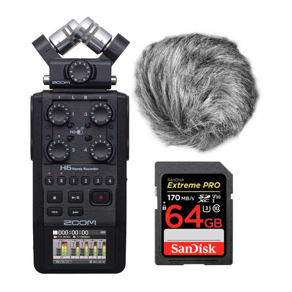 Zoom H6 6-Track Handy Recorder (Black, 2020 Model) with Windscreen and 64GB Memory Card Bundle