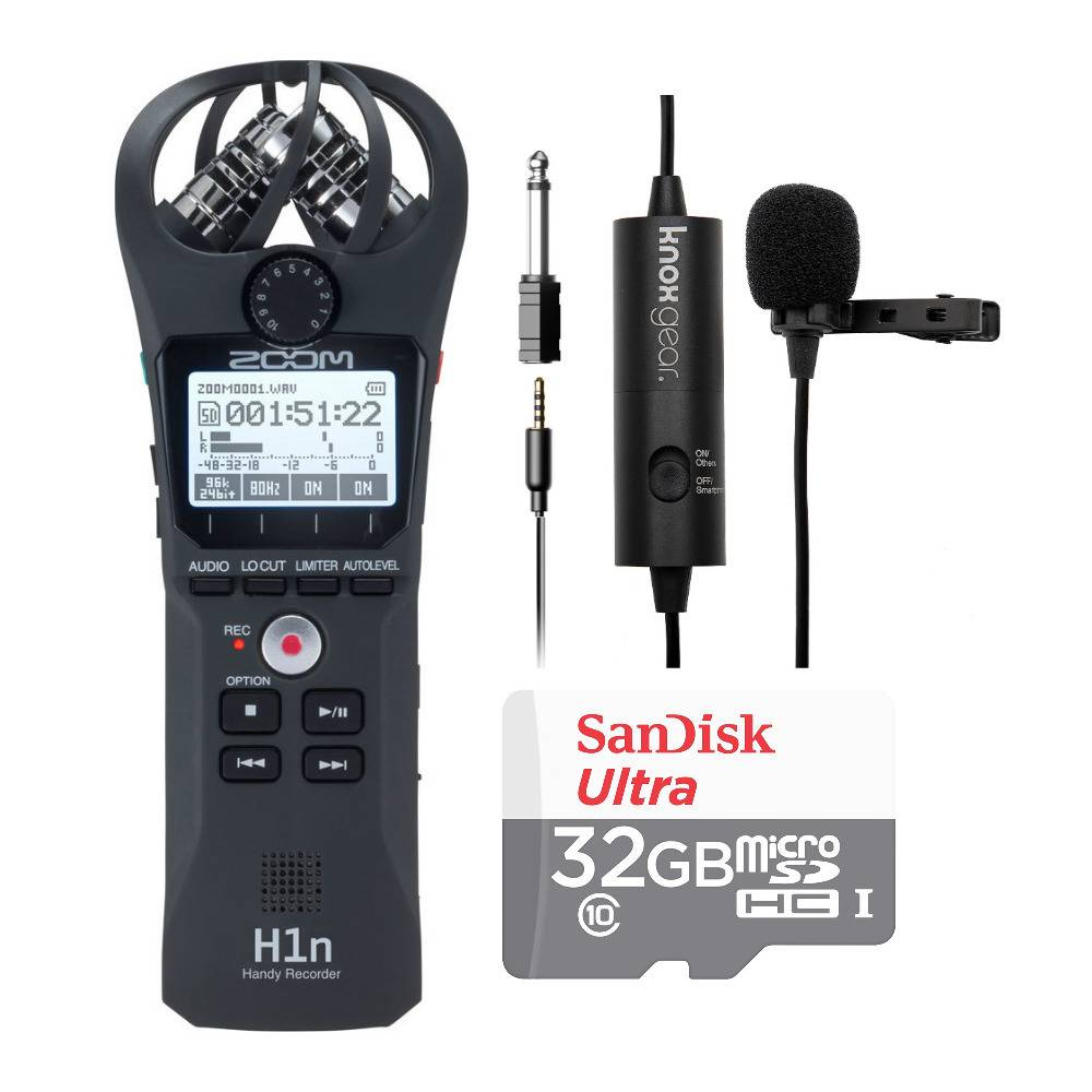Zoom H1n Digital Handy Recorder with Knox Gear Clip-On Lavalier Microphone and 32GB SD Card Bundle