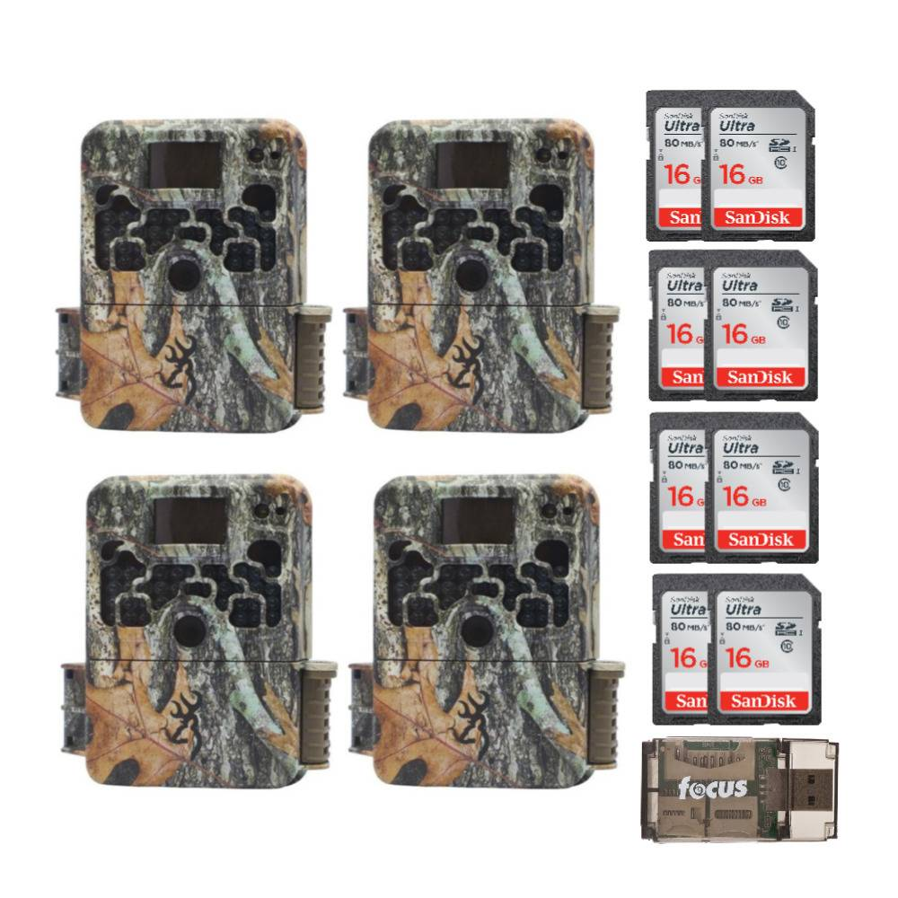 Browning Trail Cameras 16MP Strike Force Extreme Game Cam (4-Pack) with Eight 16GB SD Cards and USB Card Reader