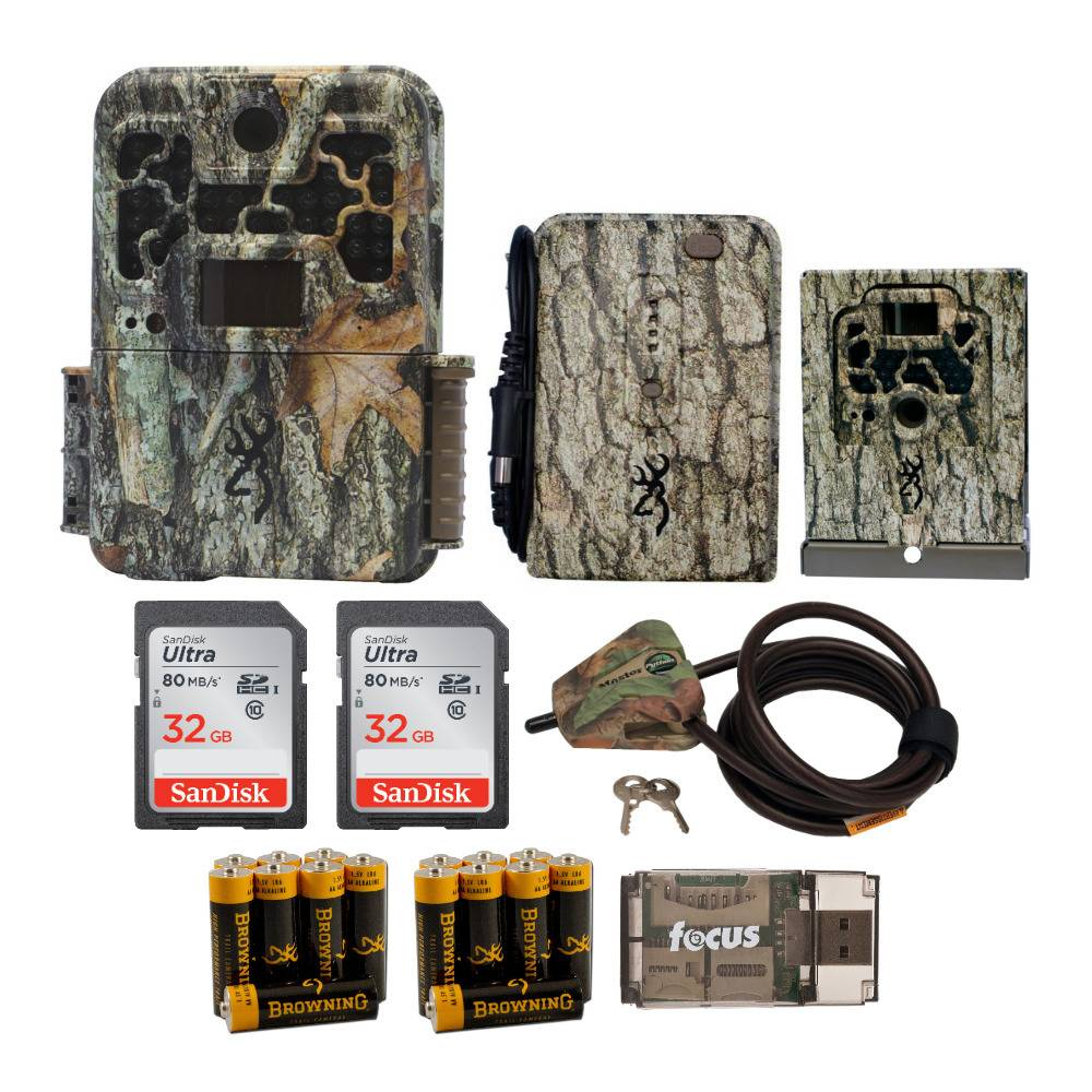 Browning Trail Cameras Recon Force Advantage 20MP Game Cam with Battery Pack, Security Box, and 32GB SD Cards Bundle