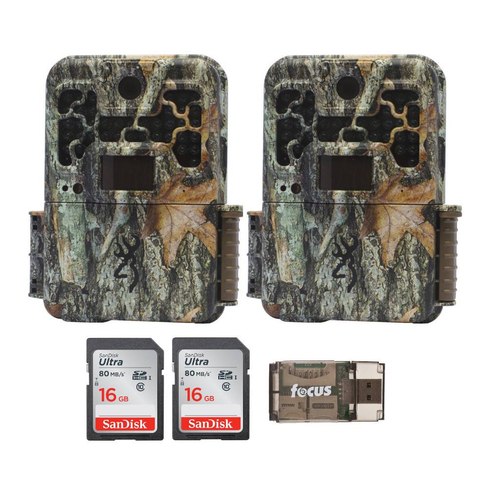 Browning Trail Cameras Recon Force Advantage 20MP Game Camera (2-Pack) with Two 16GB SD Cards and USB 2.0 Card Reader