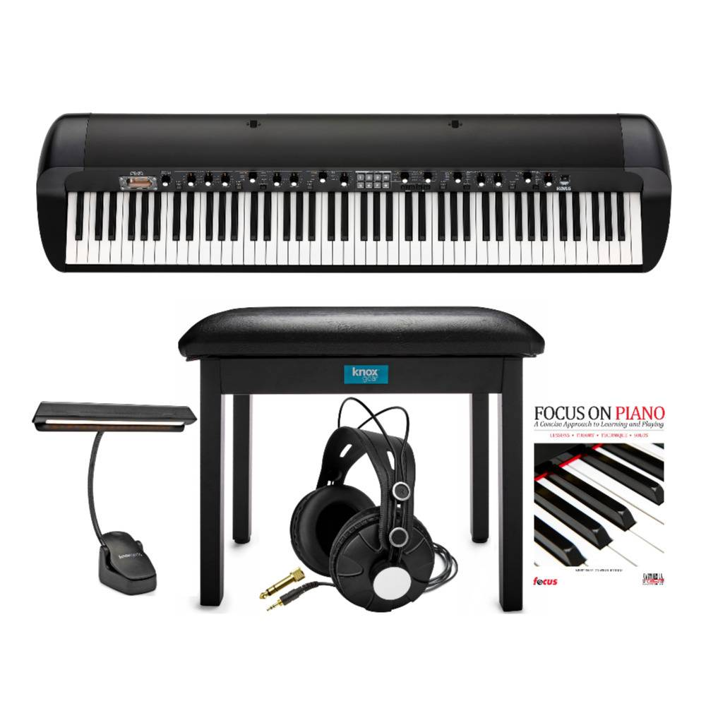 Korg SV2 88-Key Stage Vintage Piano Bundle with Knox Music Light, Headphones, Flip-Top Bench and Focus Book/CD