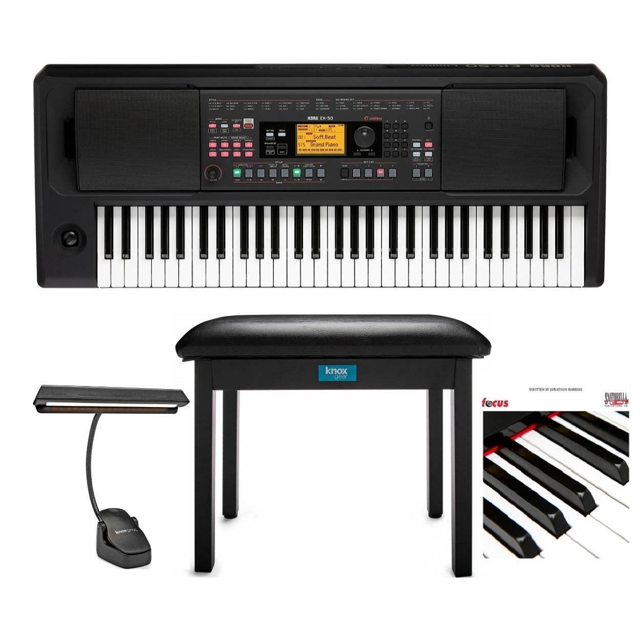 Korg EK50L Keyboard with High-Output Speakers Bundle with Knox Music Light, Flip-Top Bench and Focus Book/CD