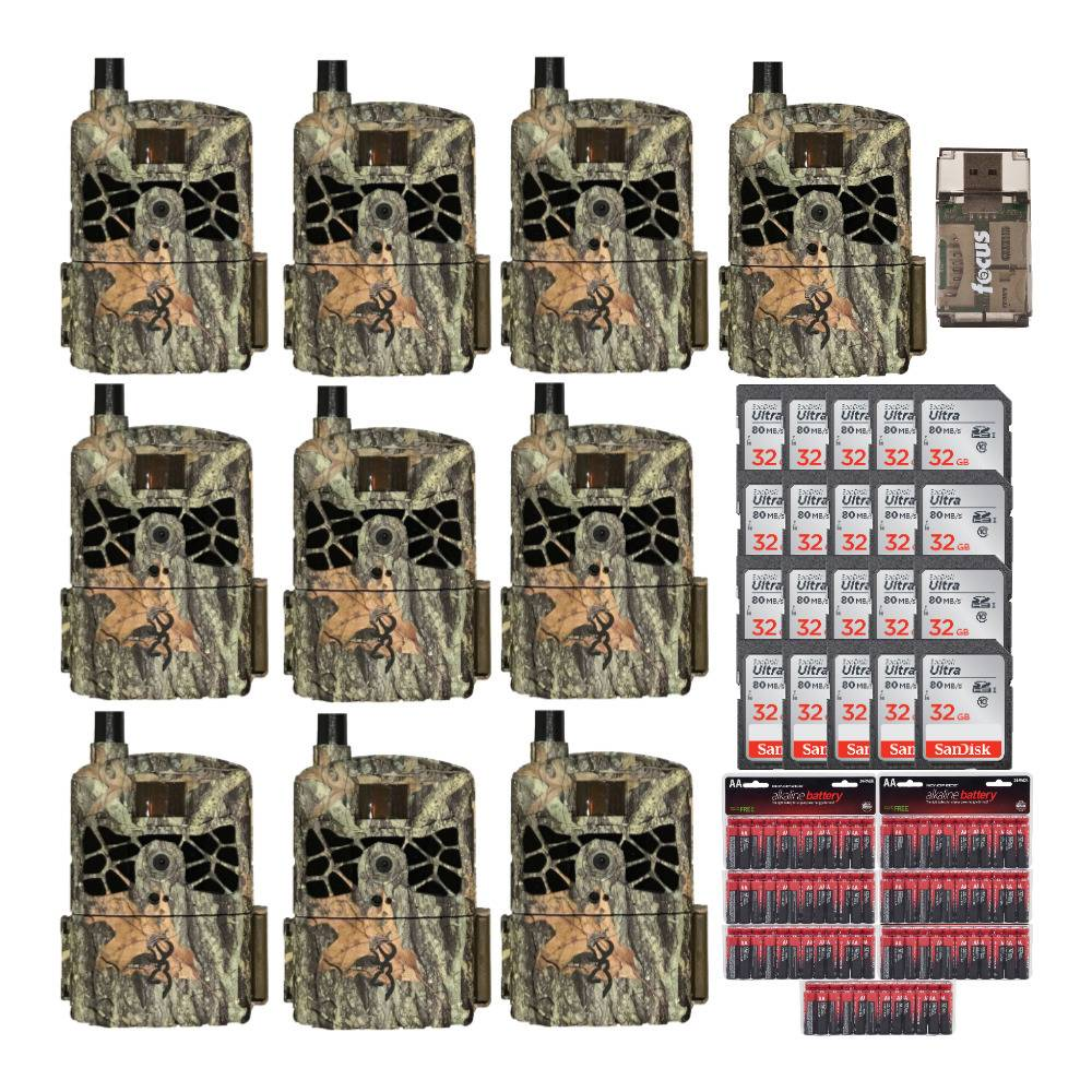 Browning Trail Cameras Defender Wireless 20MP Game Camera AT&T (10-Pack) with Memory Cards, and Accessory Bundle